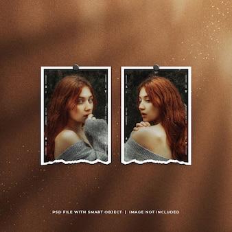 Twin ripped portrait photo frame mockup met lichteffect