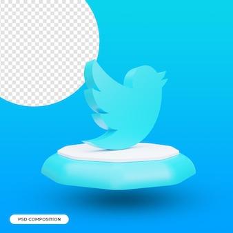 Twitter app pictogram geïsoleerd in 3d-rendering