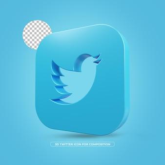 Twitter geïsoleerd 3d teruggegeven pictogram in 3d teruggeven