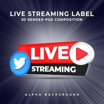 Twitter live streaming 3d render pictogram badge