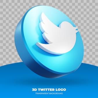 Twitter-logo geïsoleerd in 3d-rendering