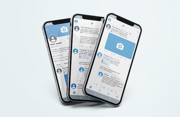 Twitter en maqueta de teléfono móvil plateado