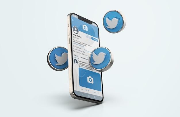 Twitter op zilveren mobiele telefoonmodel met 3d-pictogrammen