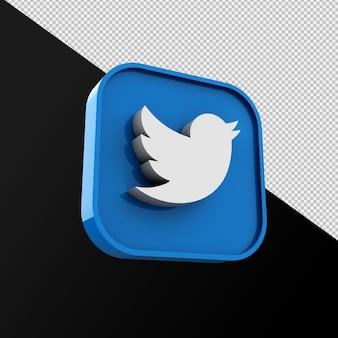 Twitter-pictogram, applicatie voor sociale media. 3d-weergave premium foto