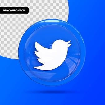 Twitter-pictogram, applicatie voor sociale media. 3d-weergave