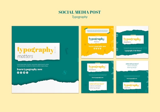 Typografie service sociale media post-sjabloon