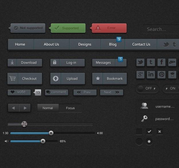 Ui-elementen ui kit ui verpakking user interface
