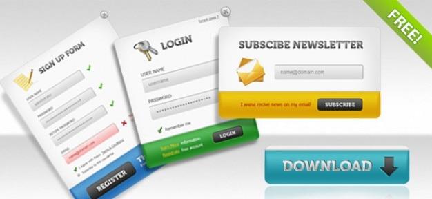 Ui psd pack - iscriviti forme, i pannelli di accesso, iscriviti forme + pulsanti di download