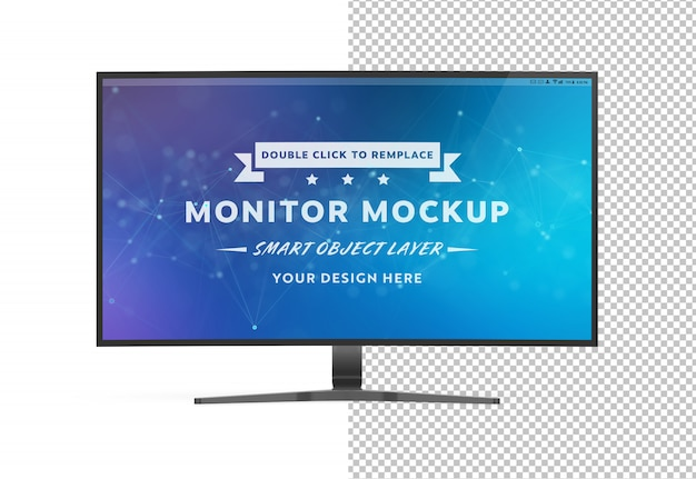 Uitgesneden gebogen monitorcomputer mockup