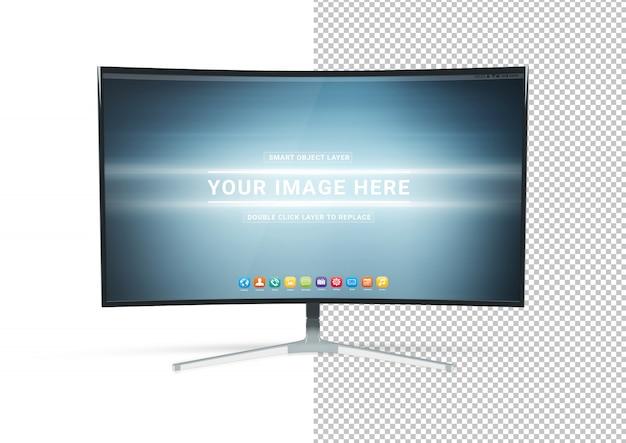 Uitgesneden gebogen monitormodel