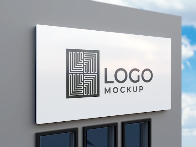 Uithangbord logo mockup 3d-rendering