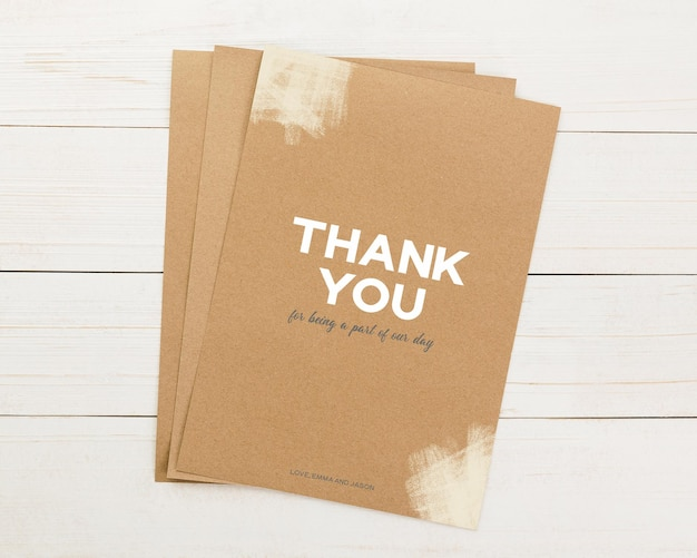 Uitnodiging kaartsjabloon, bedankkaart mockup, 5 x 7 minimalistische briefpapier mock-up.