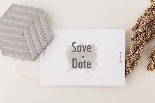 Uitnodiging kaartsjabloon, bruiloft kaart mockup, 5 x 7 minimalistische briefpapier mock-up.