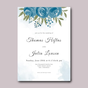 Uitnodiging kaartsjabloon met aquarel bloemboeket decoratie Premium Psd