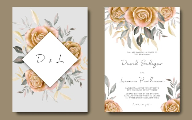 Uitnodigingskaartsjabloon met aquarel gele rozen