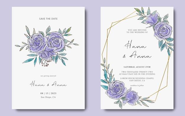 Uitnodigingskaartsjabloon met aquarel paarse bloemdecoratie
