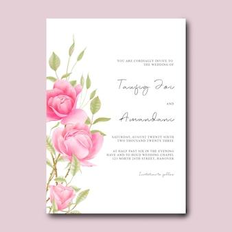 Uitnodigingskaartsjabloon met aquarelrozen