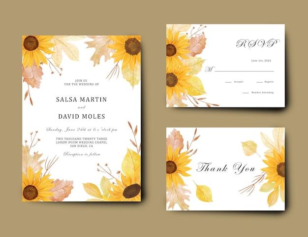 Uitnodigingssjabloon met een boeket zonnebloemen en aquarel herfstbladeren
