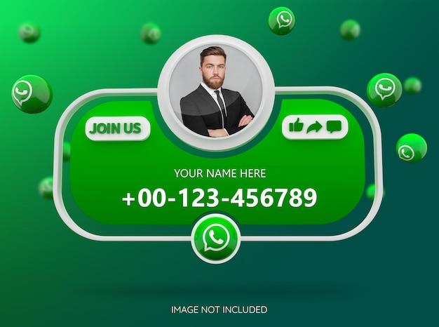 Únase a nosotros en las redes sociales de whatsapp con el logotipo 3d y el cuadro de perfil de enlace