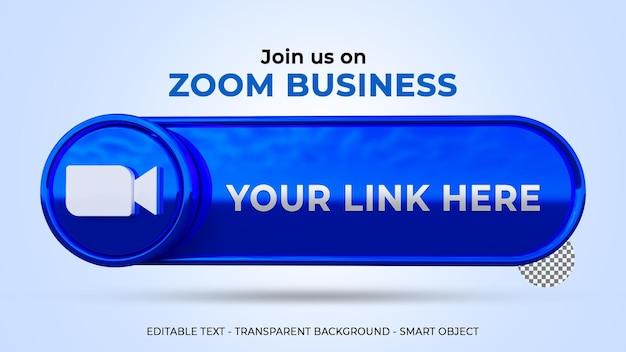 Únase a nosotros en zoom banner con logo 3d y perfil de enlace