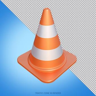 Under construction met traffic cone 3d render