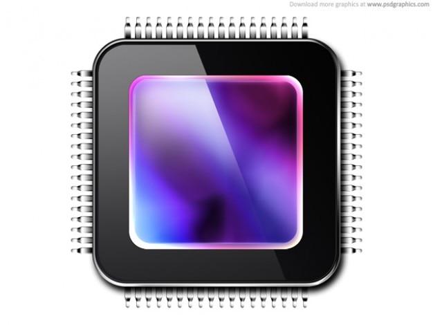 Unidad de procesamiento gráfico, gpu icono (psd)