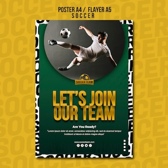 Unisciti alla scuola di squadra del modello di poster di calcio