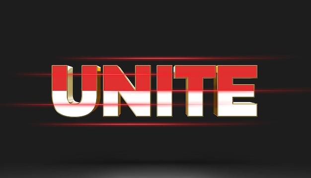 Unite 3d-teksteffect mockup-sjabloon