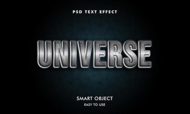 Universum-teksteffectsjabloon met donkere achtergrond