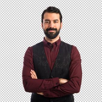 Uomo che indossa il gilet