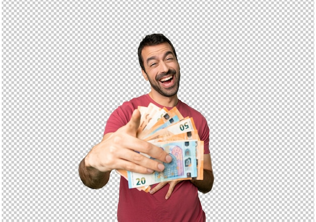 Uomo che prende un sacco di soldi che puntava il dito contro qualcuno e rideva molto