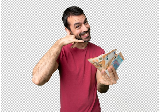 Uomo che prende un sacco di soldi facendo il gesto del telefono. chiamami segno