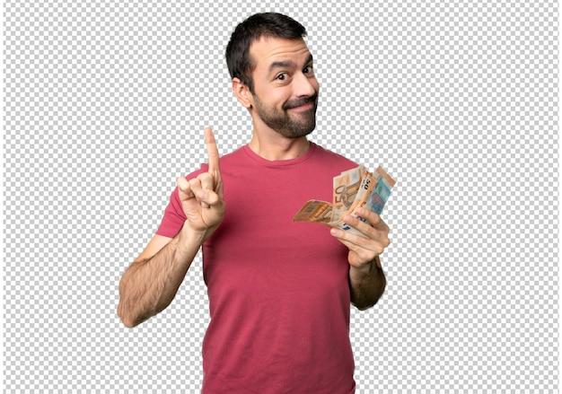 Uomo che prende un sacco di soldi mostrando e alzando un dito nel segno del meglio
