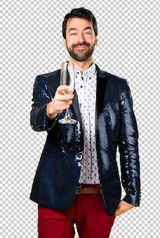 Uomo con giacca con champagne