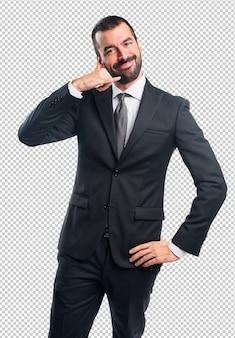 Uomo d'affari che fa gesto del telefono