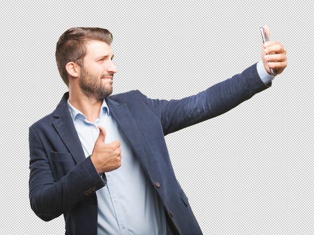 Uomo d'affari prendendo selfie