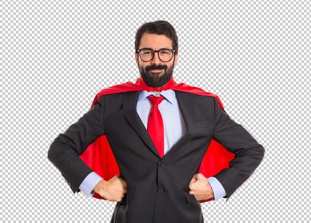 Uomo d'affari vestito da supereroe