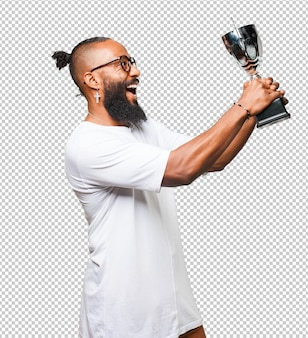 Uomo di colore che tiene un trofeo