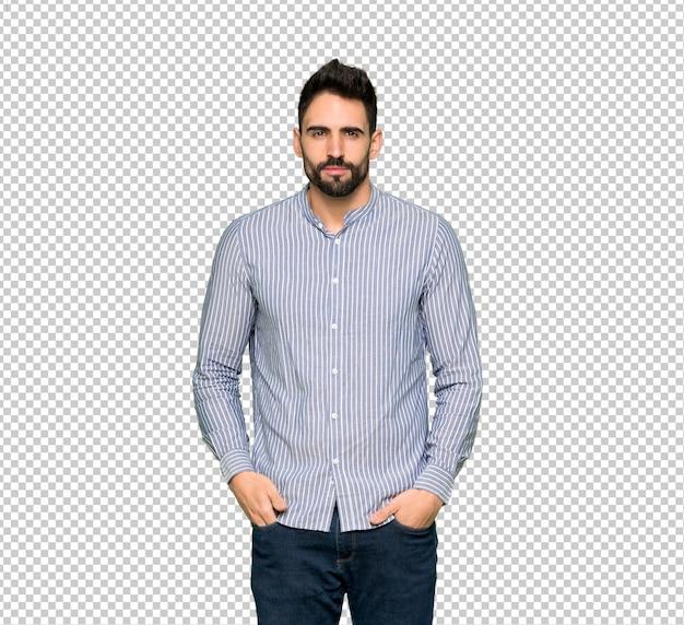 Uomo elegante con ritratto di camicia