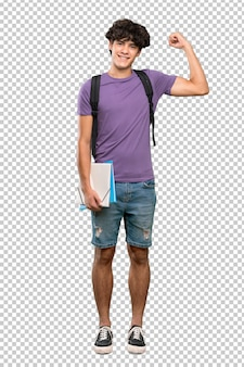 Uomo giovane studente che fa un forte gesto