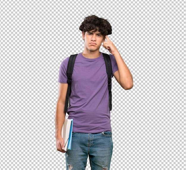 Uomo giovane studente con dubbi e pensieri