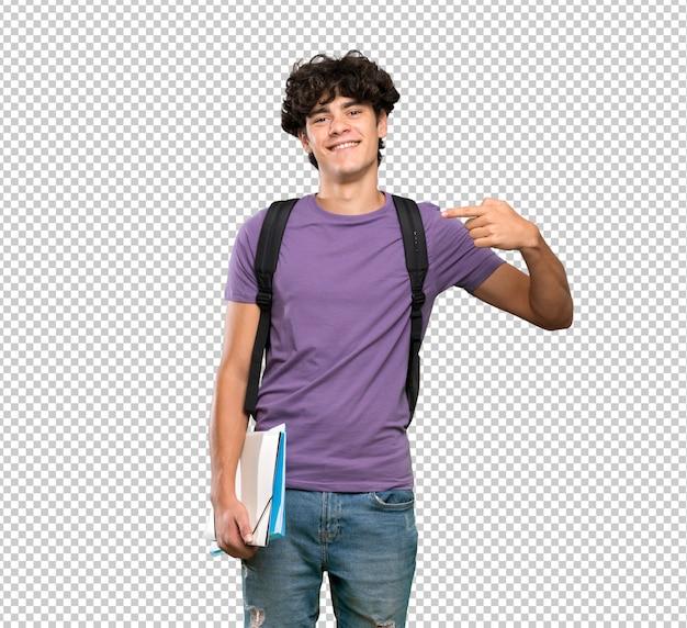 Uomo giovane studente orgoglioso e soddisfatto di sé