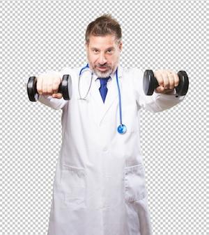 Uomo medico con manubri