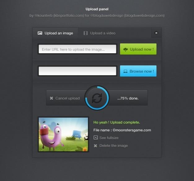 Uploaden interfacepaneel met voortgangsbalk
