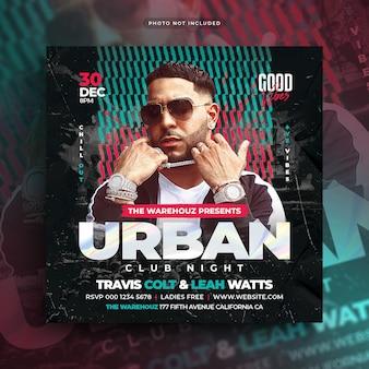 Urban club party flyer social media plaatsen webbanner