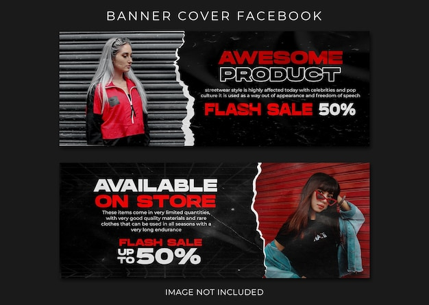 Urban fashion facebook-omslag en webbannersjabloon