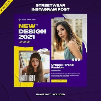 Urban fashion streetwear instagram post-sjabloon