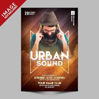 Urban sound party flyer premium-sjabloon