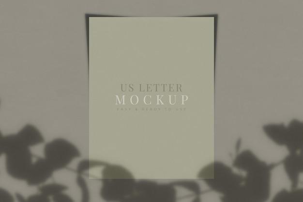 Us letter papieren mockup met schaduwoverlay. sjabloon voor branding identiteit. 3d-rendering