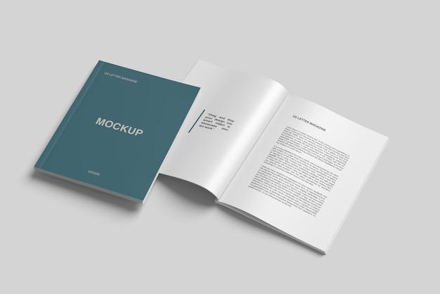 Us rivista di dimensioni delle lettere e copertina vista mockup vista dall'alto